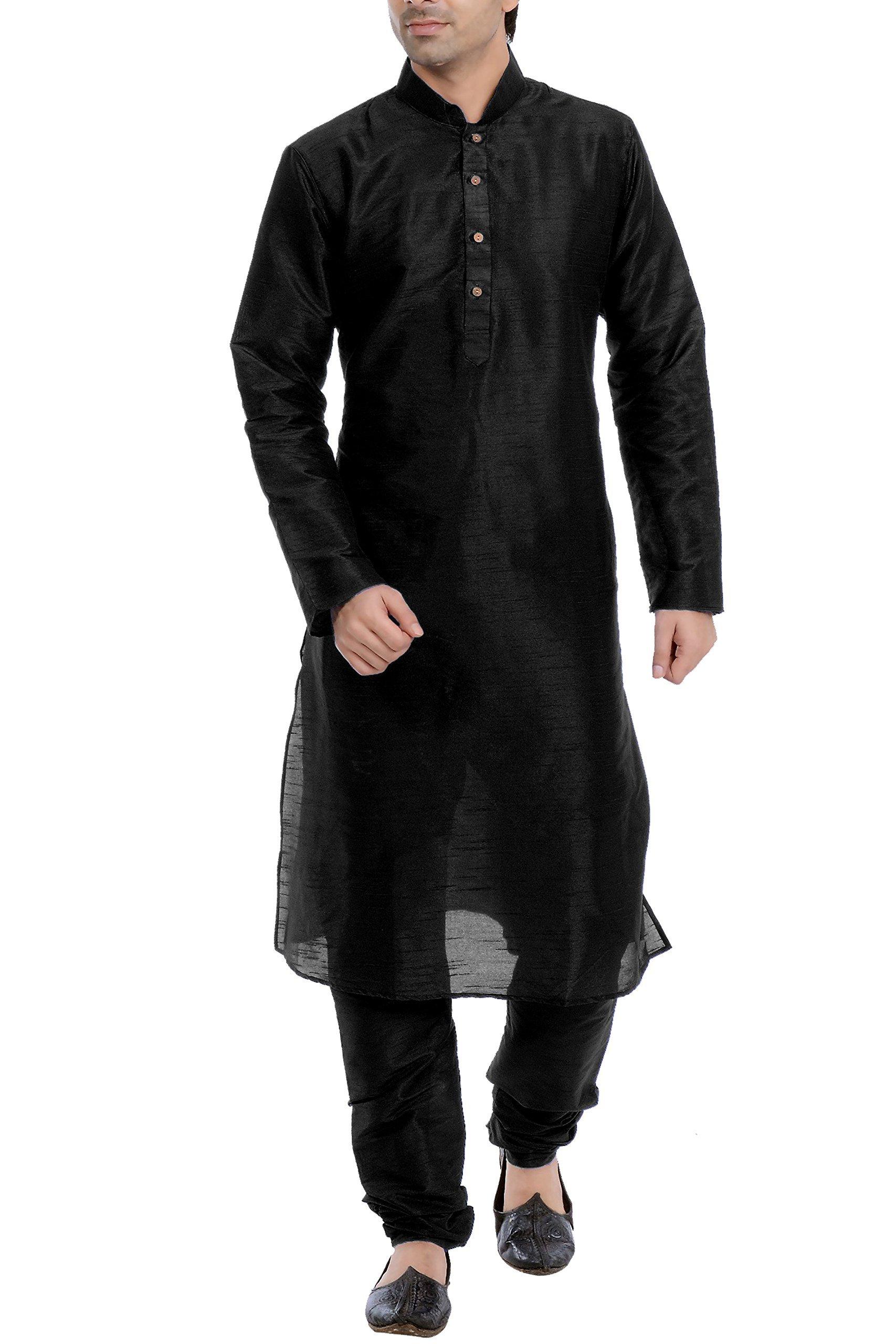 Vastramay Men's Cotton Silk Kurta & Pyjama Set 44 Black