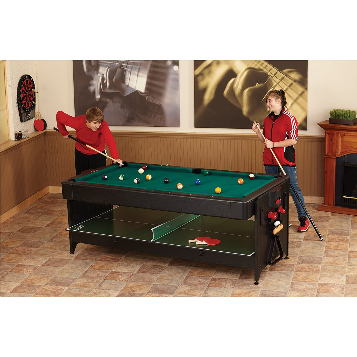 Amazon.com : Fat Cat Original 3 In 1, 7 Foot Pockey Game Table (Air Hockey,  Billiards And Table Tennis) : Tabletop Billiards Games : Sports U0026 Outdoors