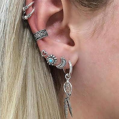 d09f925fa Earring Sets for Women Earrings Cuffs & Studs Tribal Antiqued Silver Ear  Cuff Flower Hamsa Flower