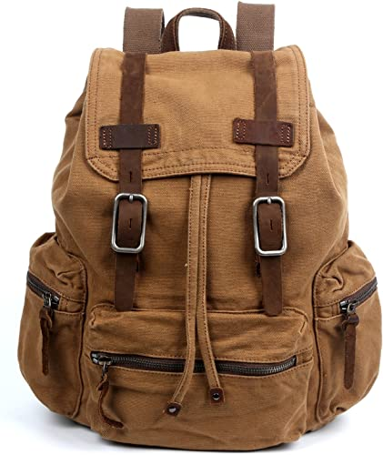 The Same Direction Silent Trail Backpack Canvas and Leather Durable Backpack Camel
