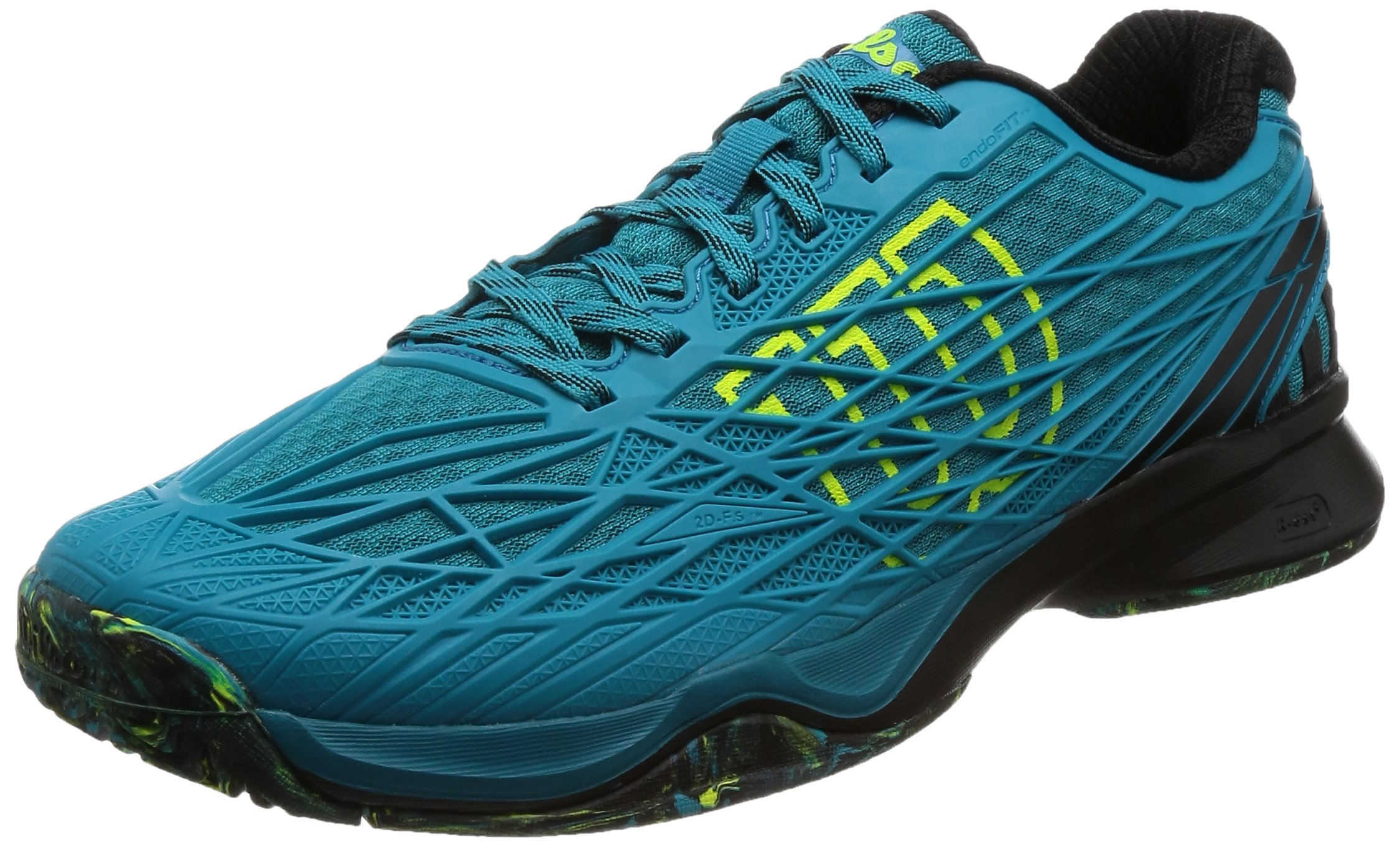 Wilson KAOS Men's All Court Tennis Shoe-9.5 D(M) US-Enamel Blue/Black/Safety Yellow