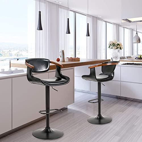 Glitzhome Bar Stools Set of 2 Adjustable Swivel Bar Stools Modern Leather Barstool Chair