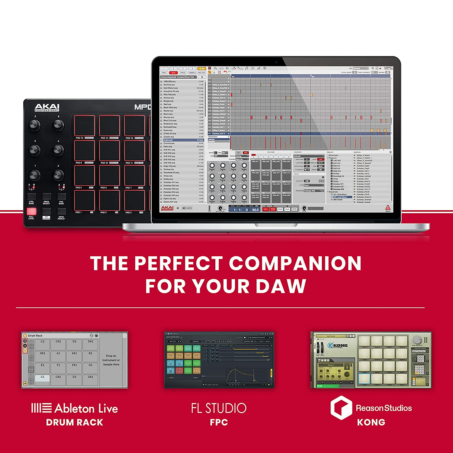 AKAI Professional MPD218 | Ultra-Portable USB Bus-Powered 16-Pad USB/MIDI  Pad Controller with MPC Pads, 6 Assignable Knobs, Note Repeat & Full Level