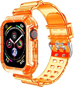 Clear Watch Band for Apple Watch 42mm 44mm,Transparent Clear Soft Silicone Sports iWatch Band Strap for Apple Watch Series 6/5/4/3/SE(Orange 44mm)