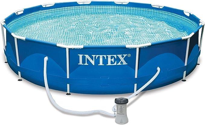 Piscina familiar con estructura metálica 366 x 84 cm, de Intexi Intex, juego de piscina con bomba de filtro y accesorios: Amazon.es: Jardín