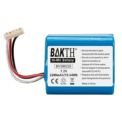 BAKTH 2200mAh 7.2V NiMH batterie capacité réelle pour iRobot Braava 380T, Braava 380, MINT Plus 5200, 5200C