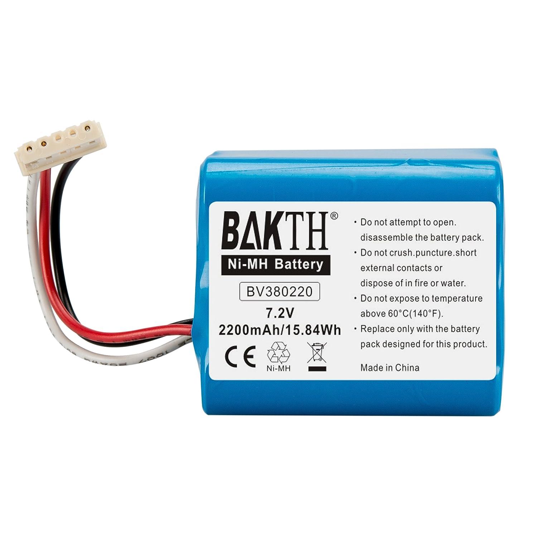 BAKTH 2200mAh 7.2V NiMH batterie capacité réelle pour iRobot Braava 380, Braava 380T, Braava 390T, MINT Plus 5200, 5200C