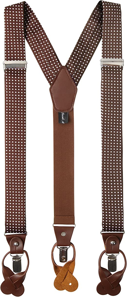 Jacob Alexander Mens Polka Dot Y-Back Suspenders Braces Convertible Leather Ends and Clips SUPD035