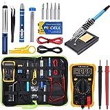 Soldering Iron Kit Electronics, 60w Adjustable Temperature Soldering Iron, Digital Multimeter, 2pcs Soldering
