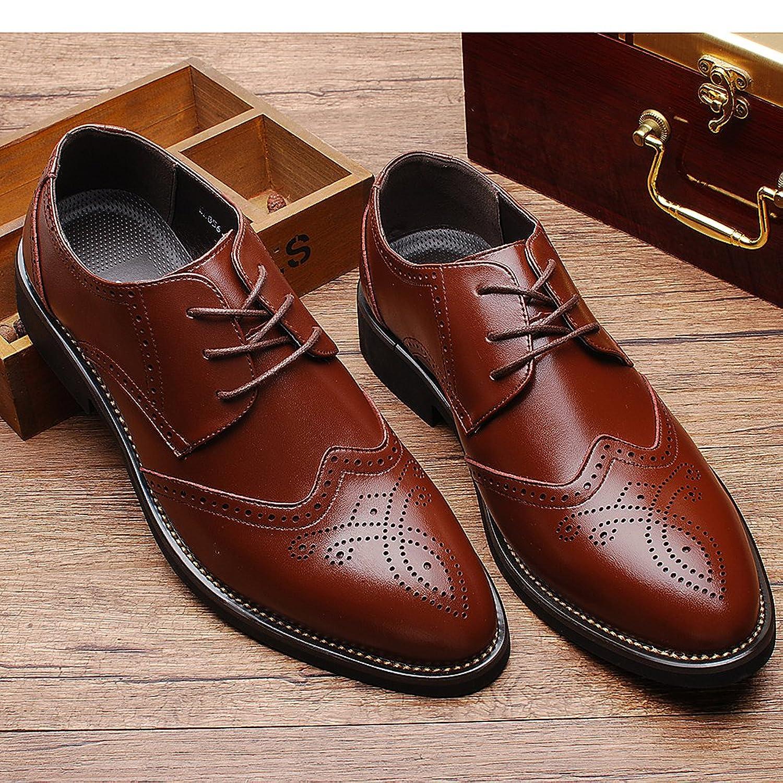Yirenhuang Herren Stilvoll Spitzzehe Leder Abendschuhe Geschäft Hochzeit Brogue Schuhe Marineblau P110 EU41 Ko6JxpN