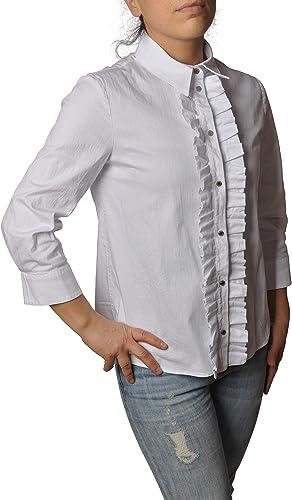 DONDUP Camisa Manga 3/4 con Ruedas y Botones Clip DC103CS0103D Blanca Talla: Amazon.es: Ropa y accesorios