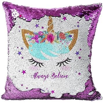 KAISHANE Unicornio Revelación Mágica Cojín de Lentejuelas Funda de Almohada Reversible Doble Colores 40 * 40 cm Sofá Hogar Decorativo