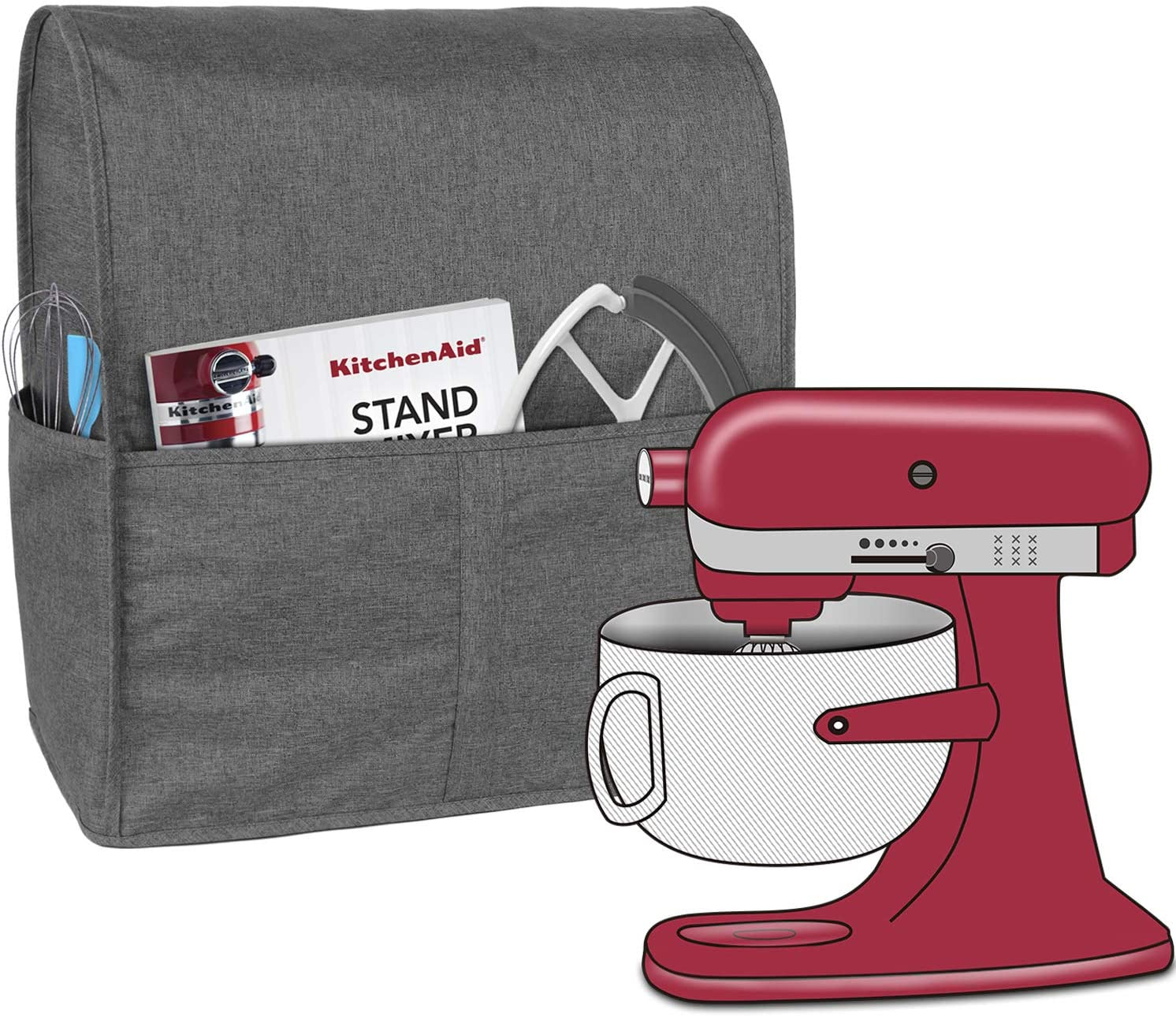 Homai Stand Mixer Cover for 6-8 Quart KitchenAid Mixer, Cloth Dust Cover with Pocket for Extra Attachments (Gray)