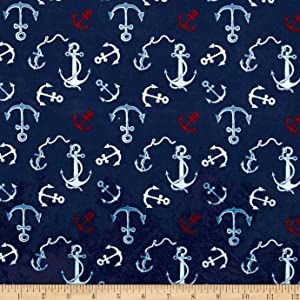 Michael Miller Minky Whales Anchors Toss Fabric by The Yard, Navy