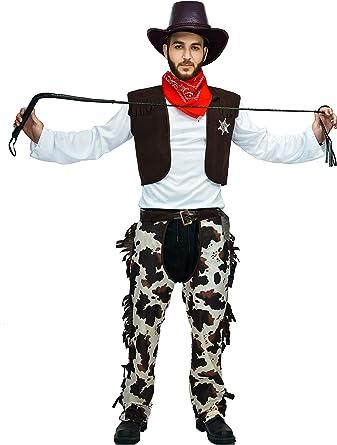 Adultes Noir Cowboy Gilet /& Chaps Set Fancy Dress Costume Western Homme Costume