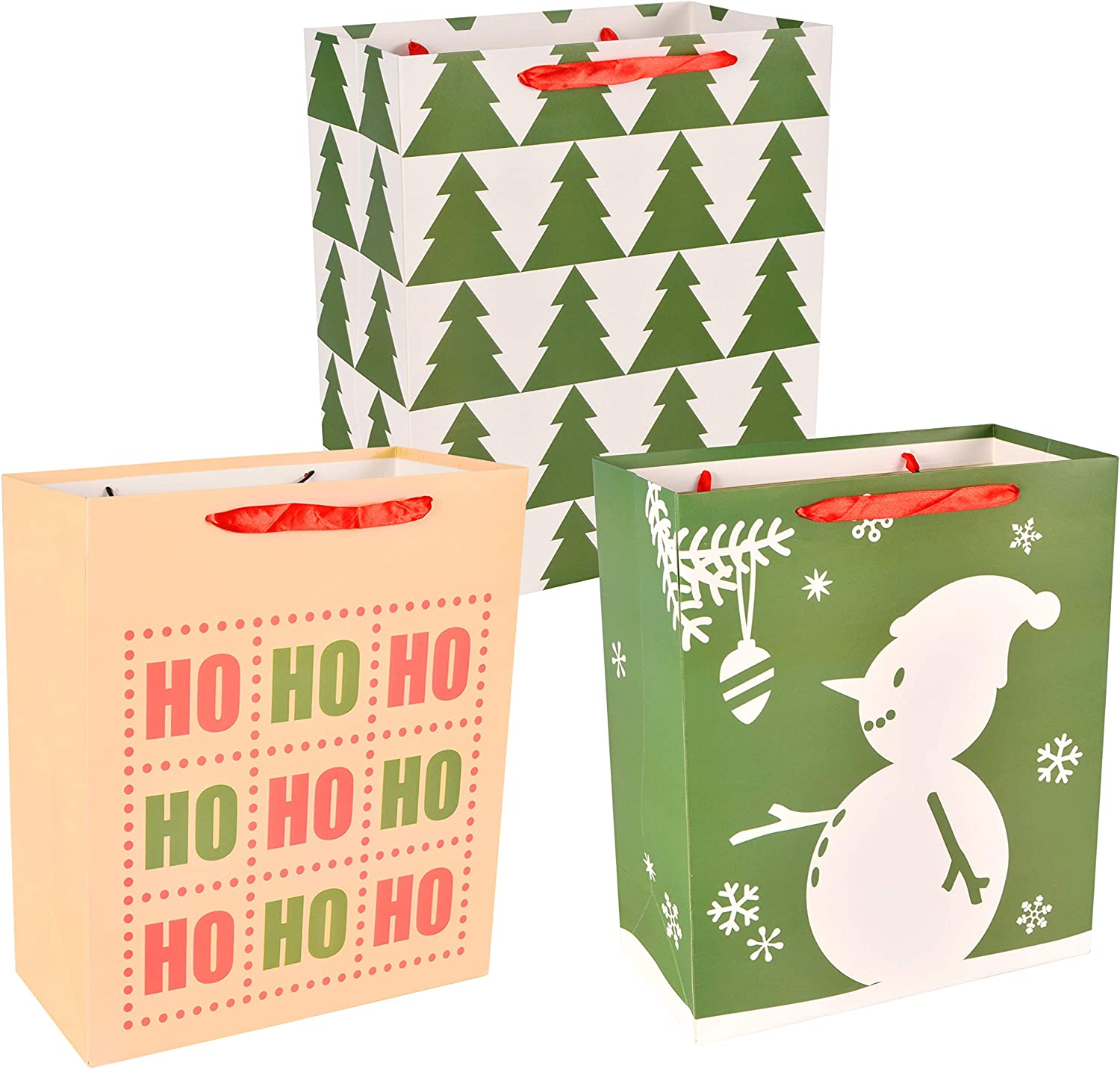 School Classrooms Party Favors Decoration 18 Pack Christmas Premium Holiday Gift Bags Assorted Creamy Kraft Style Prints for Xmas Goody Gift Bags Holiday Present Wrap D/écor.