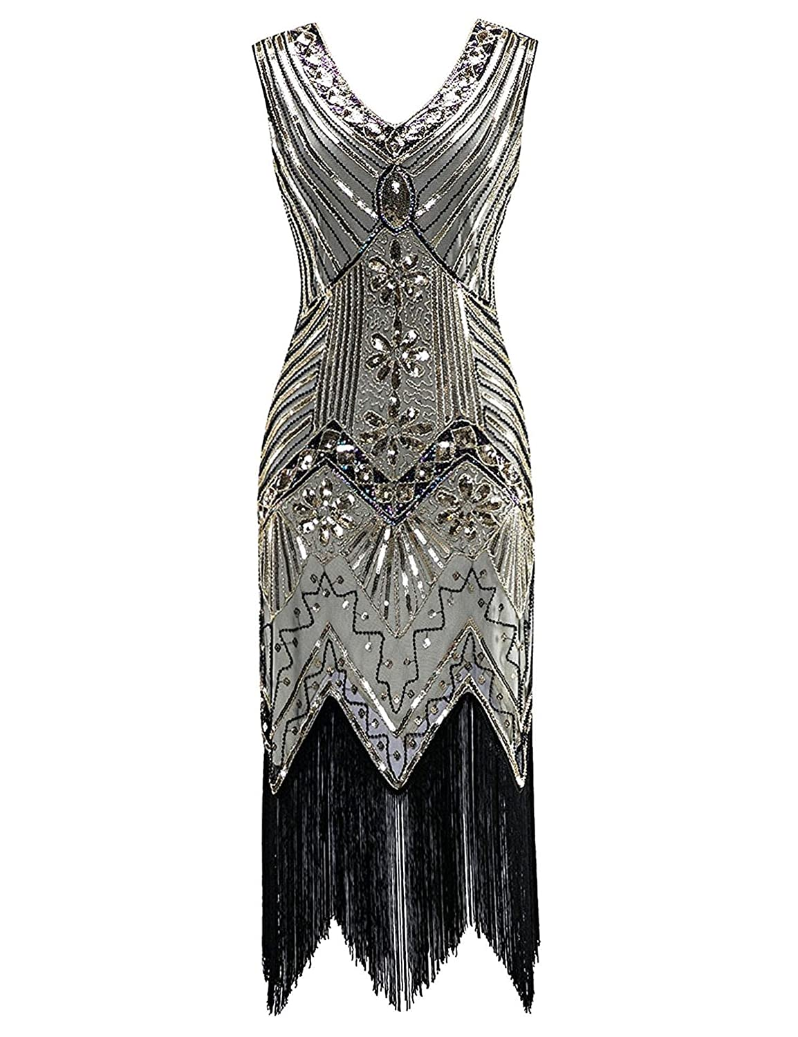 5e14c4d62 Sequin design, sfringe irregular hem, elegant Knee-Length dress. The back  has the same design with front, both are embellished with sequin and beads