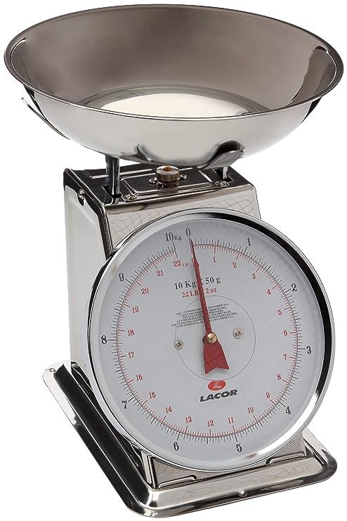 Lacor 61710 - Bascula mecánica con bol, 10 kg