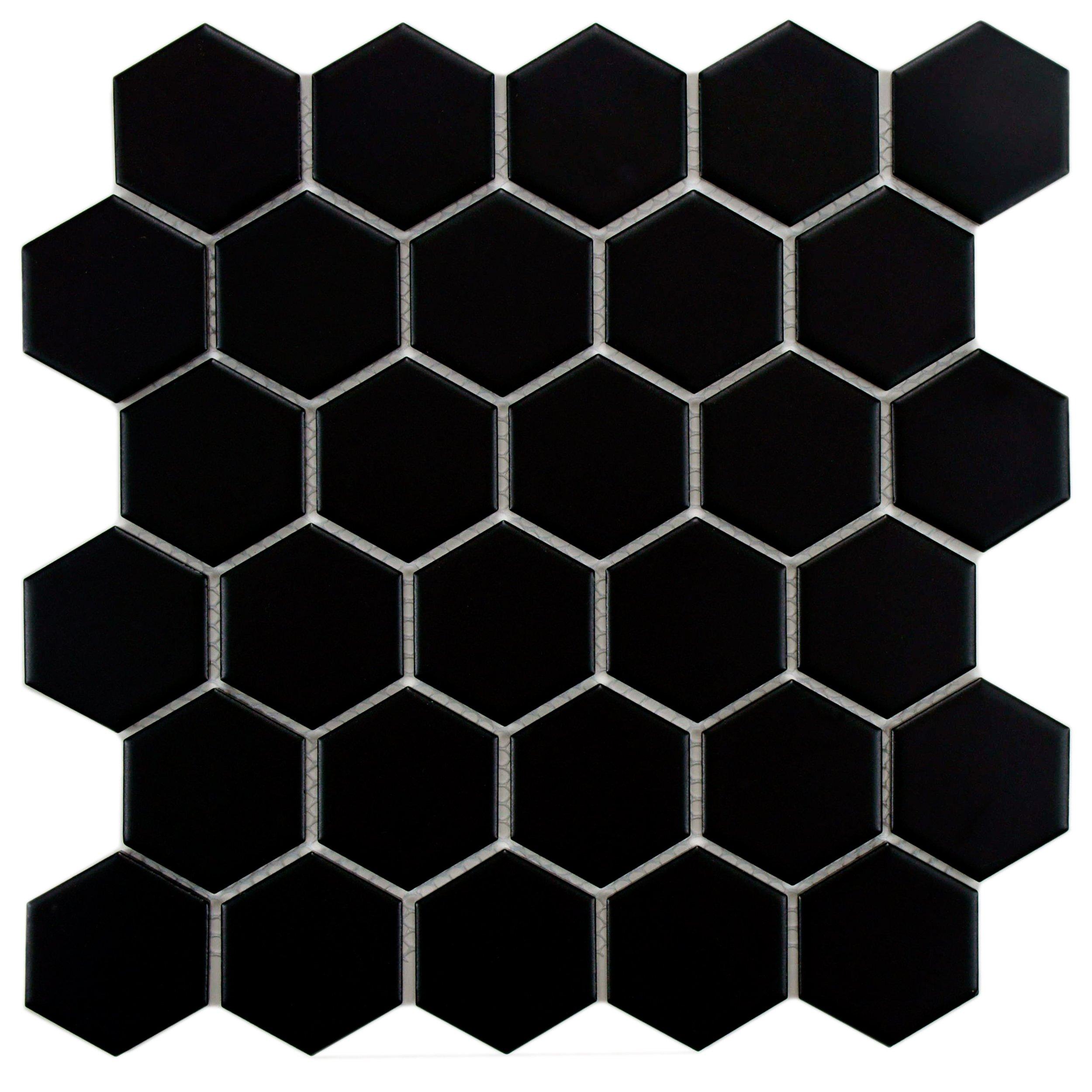 SomerTile FXLM2HMB Retro Hex Porcelain Floor and Wall Tile, 10.5'' x 11'', Matte Black