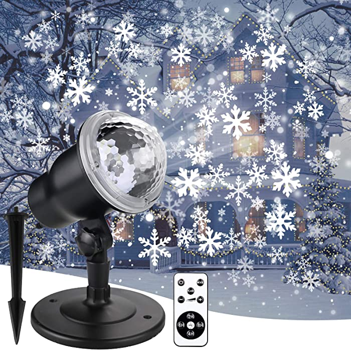 Double Gift Christmas Snowflake Projector Lights - LED Snowfall Show Outdoor Waterproof Landscape Decorative Lighting for Xmas Holiday Party Wedding Garden Patio