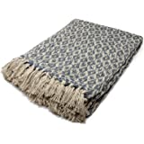 New Woven Diamond Throw, 100% Recycled Cotton Blanket, Modern Loose Weave Diamond Design, Super Soft Sofa Chair Bed Throws, 130cm x 160cm, Charcoal Grey