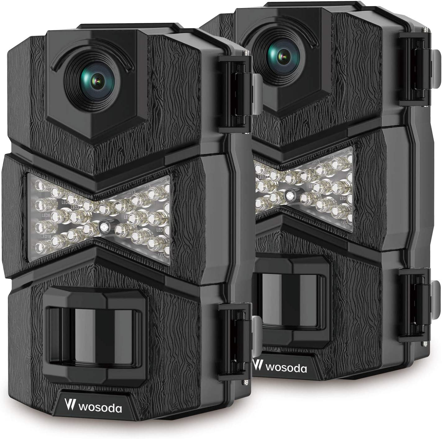 WOSODA 16MP 1080P Trail Camera, with Upgraded 850nm IR LEDs Night Vision 260ft Wildlife Camera, Game Camera for Home Security Wildlife Monitoring/Hunting (2Black)