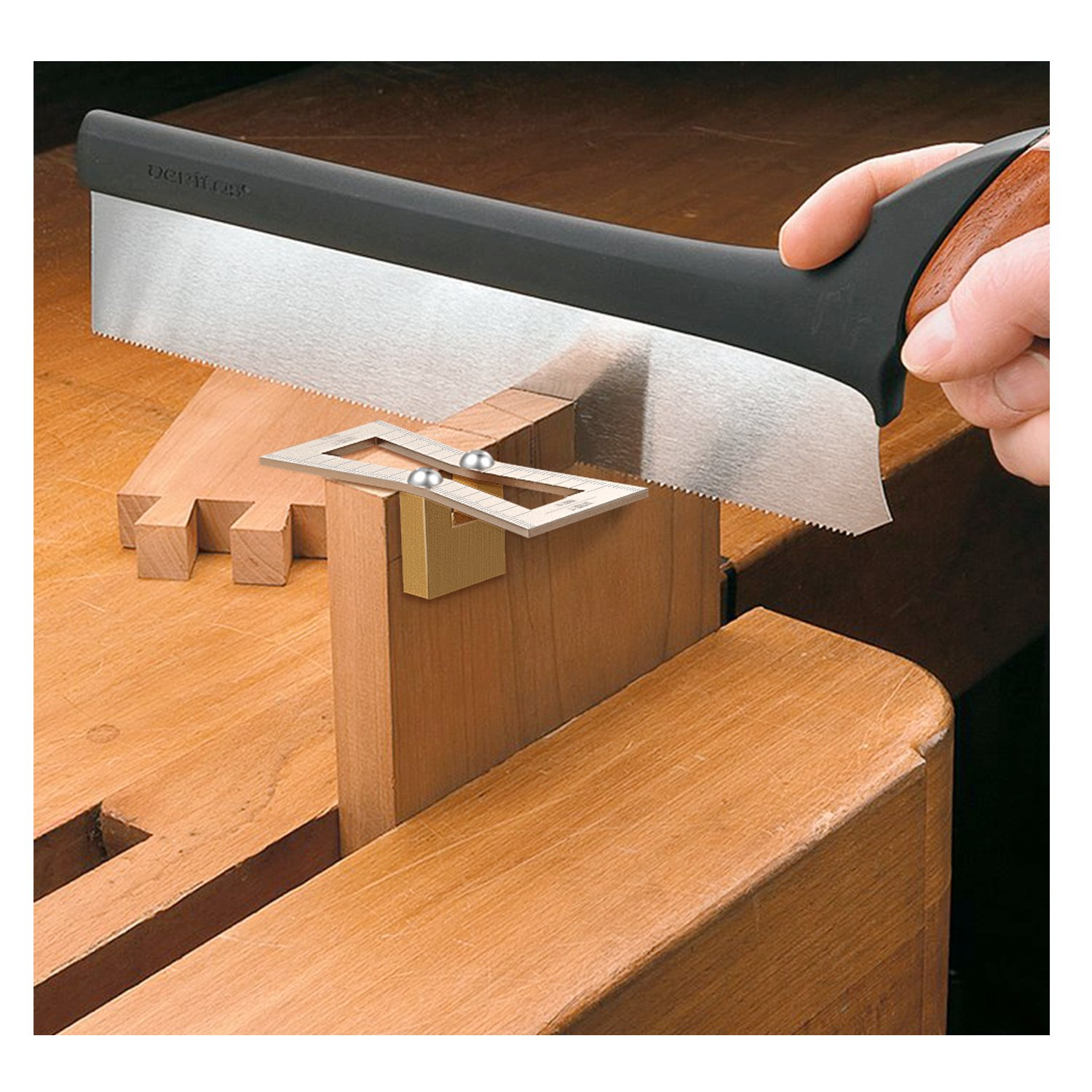 Housolution Dovetail Marker, Hand Cut Wood Joints Gauge Dovetail Guide Tool with Scale, Dovetail Template Size 1:5-1:6 and 1:7-1:8 for Woodworking - Silver by Housolution (Image #3)