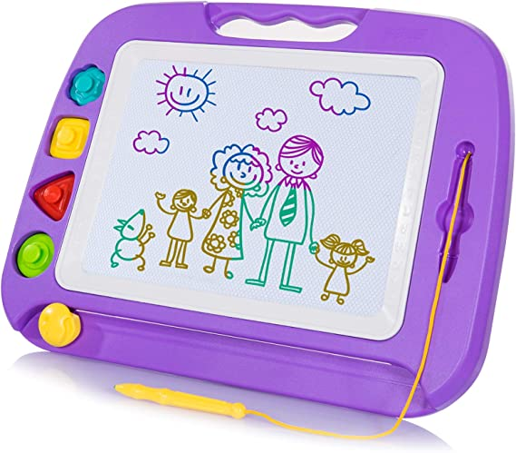 ALEENFOON Magnetic Steel Ball Drawing Board for Kids Children Writing Stencils Toys Sketch Doodle Pad Scribble Writing Board Toy with Magnetic Pen