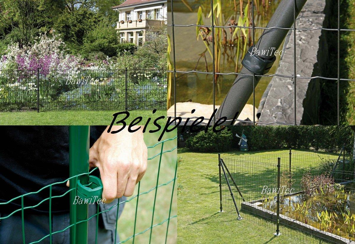 Frisch Zaunpfosten + Fix-Clip-Pro Pfosten Maschendraht Zaun grün 122,5cm  BK93