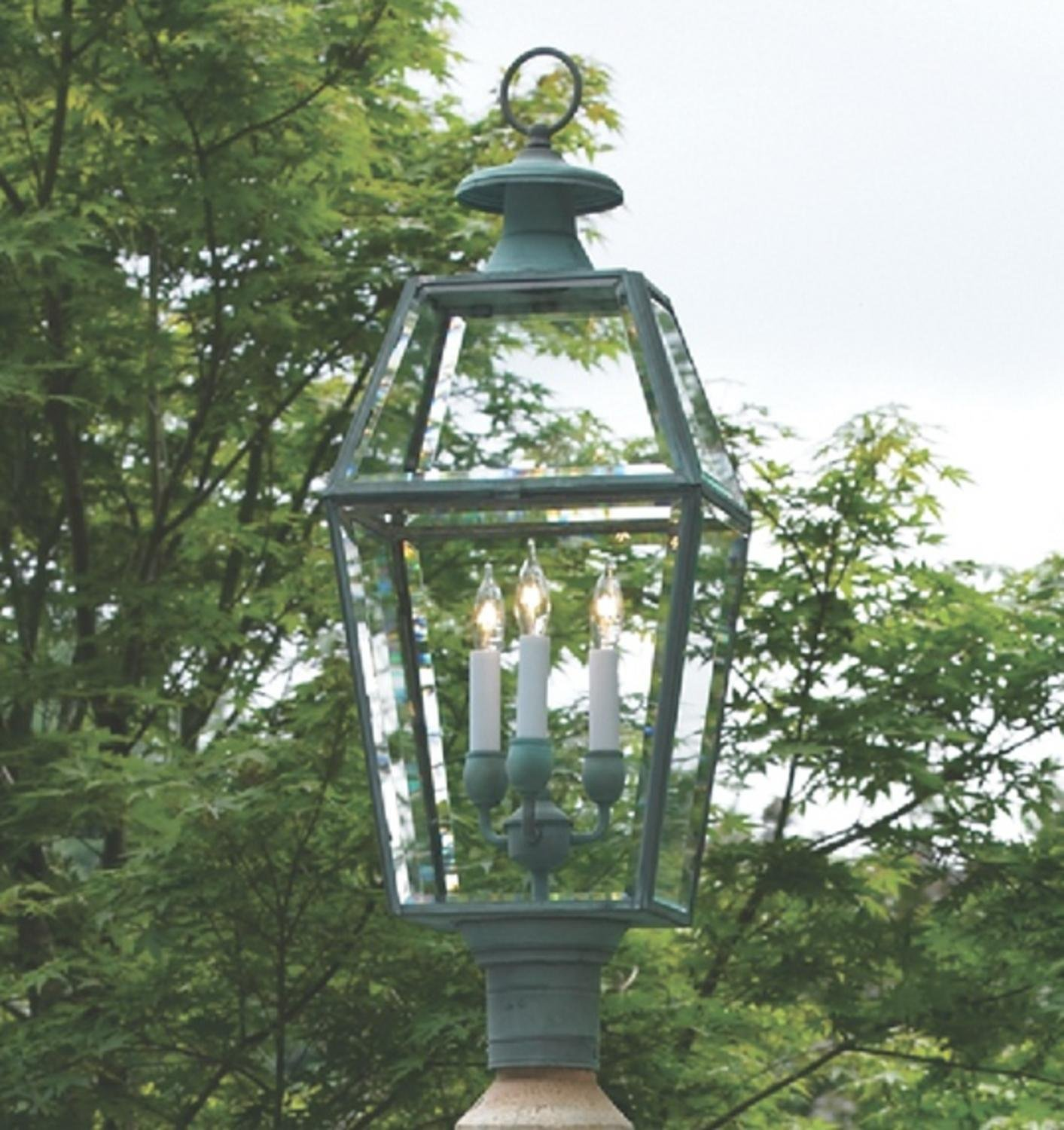 29.5'' Handcrafted Verde Brass 8-Panel Outdoor Yard and Patio Lantern