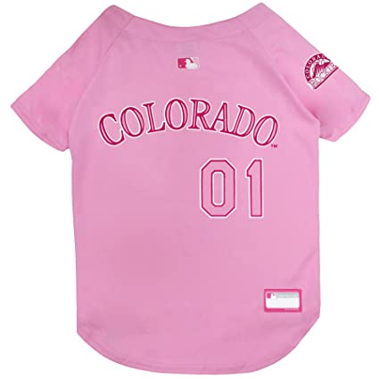 44add551f Amazon.com   MLB Jersey for Dogs - Colorado Rockies Pink Jersey ...