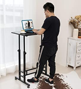 Akway Small Computer Desk Standing Desk with Wheels 31.4 x 19.6 inches Height Adjustable Desk Sit Stand Desk Rolling Cart Compact Computer Desk, Black