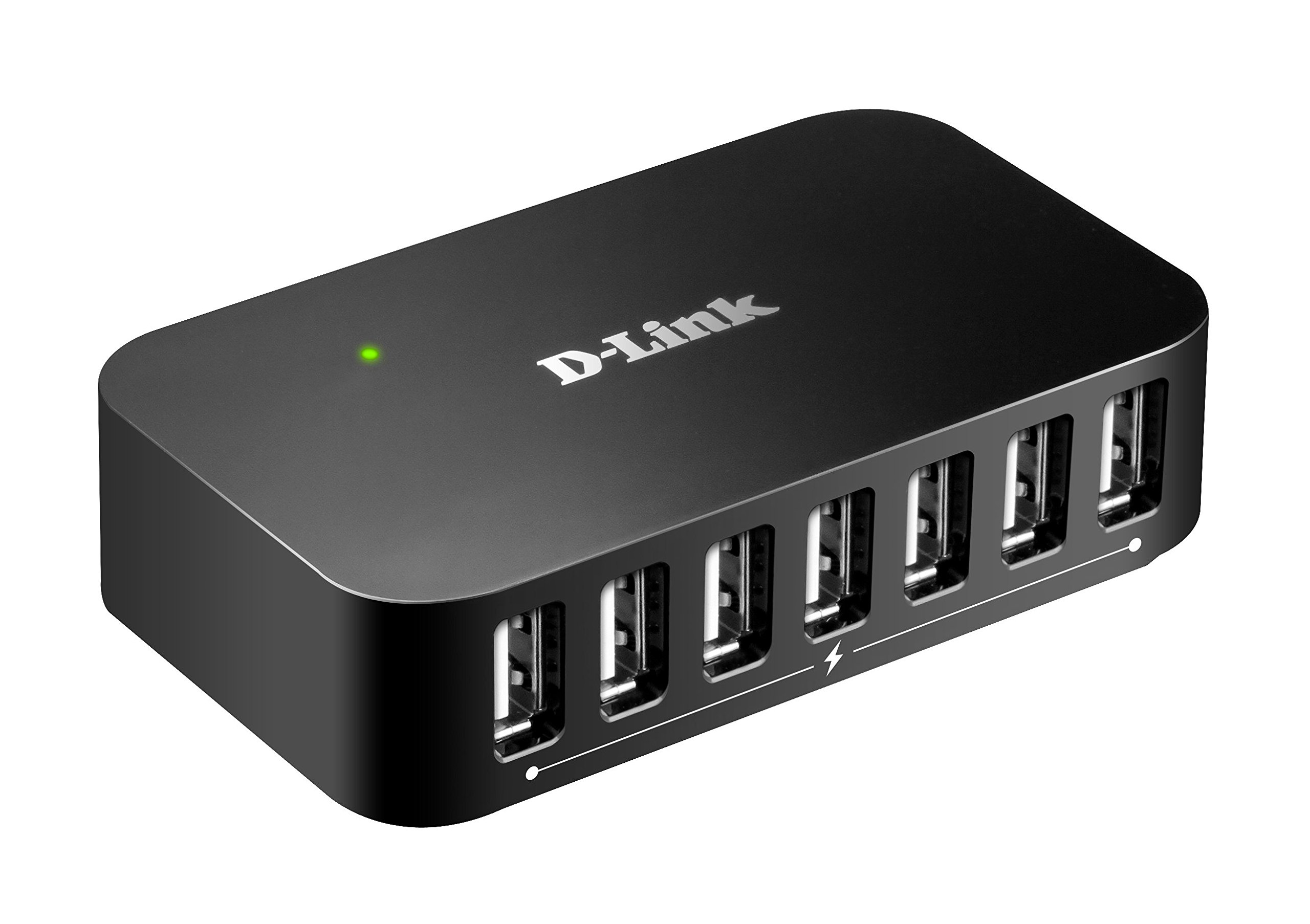 D-Link 7-Port USB 2.0 Hub including 7 Fast Charging Ports, mini USB 2.0 Port  and 5V/3A Power Adapter (DUB-H7) by D-Link