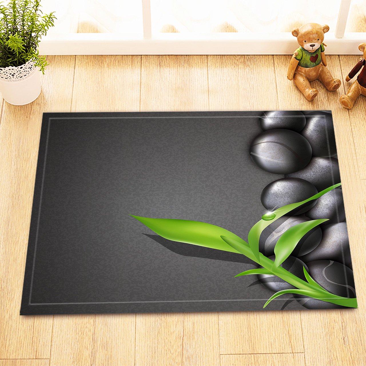 LB Green Bamboo Black Zen Stones Kids Bathroom Rugs, Anti Skip Rubber Backing Comfortable Soft Surface, Massage Spa Meditation Decor 15 x 23 Inches