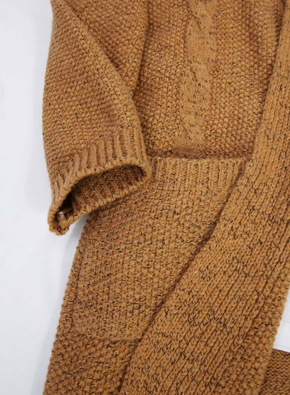 Futurino Women's Cable Twist School Wear Boyfriend Pocket Open Front Cardigan (One Size, Brown) by Futurino (Image #5)