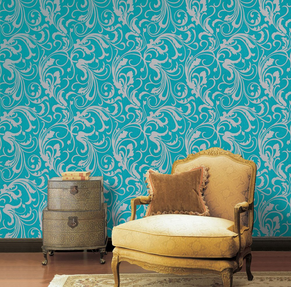 Turquoise Green/Grey Floral Wallpaper For Walls - Double Roll ...