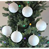 Festive Season White SnowBalls Shatterproof Christmas Ball Ornaments, Tree Decorations (Set of 6, 80mm)