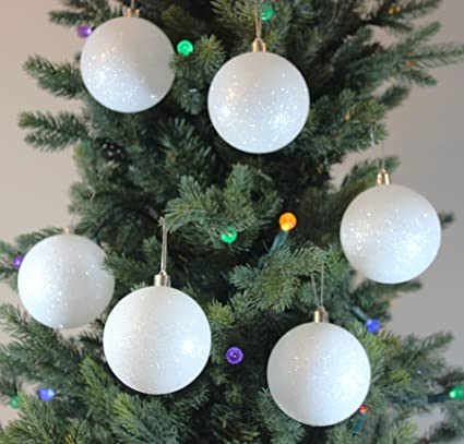 festive season white snowballs shatterproof christmas ball ornaments tree decorations set of 6 - Christmas Ball Decorations