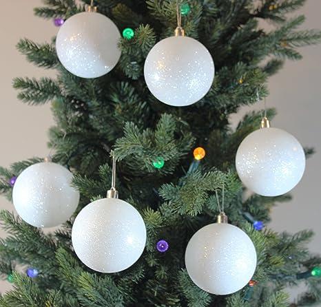 festive season 12pk 80mm white snowball christmas tree ball ornaments