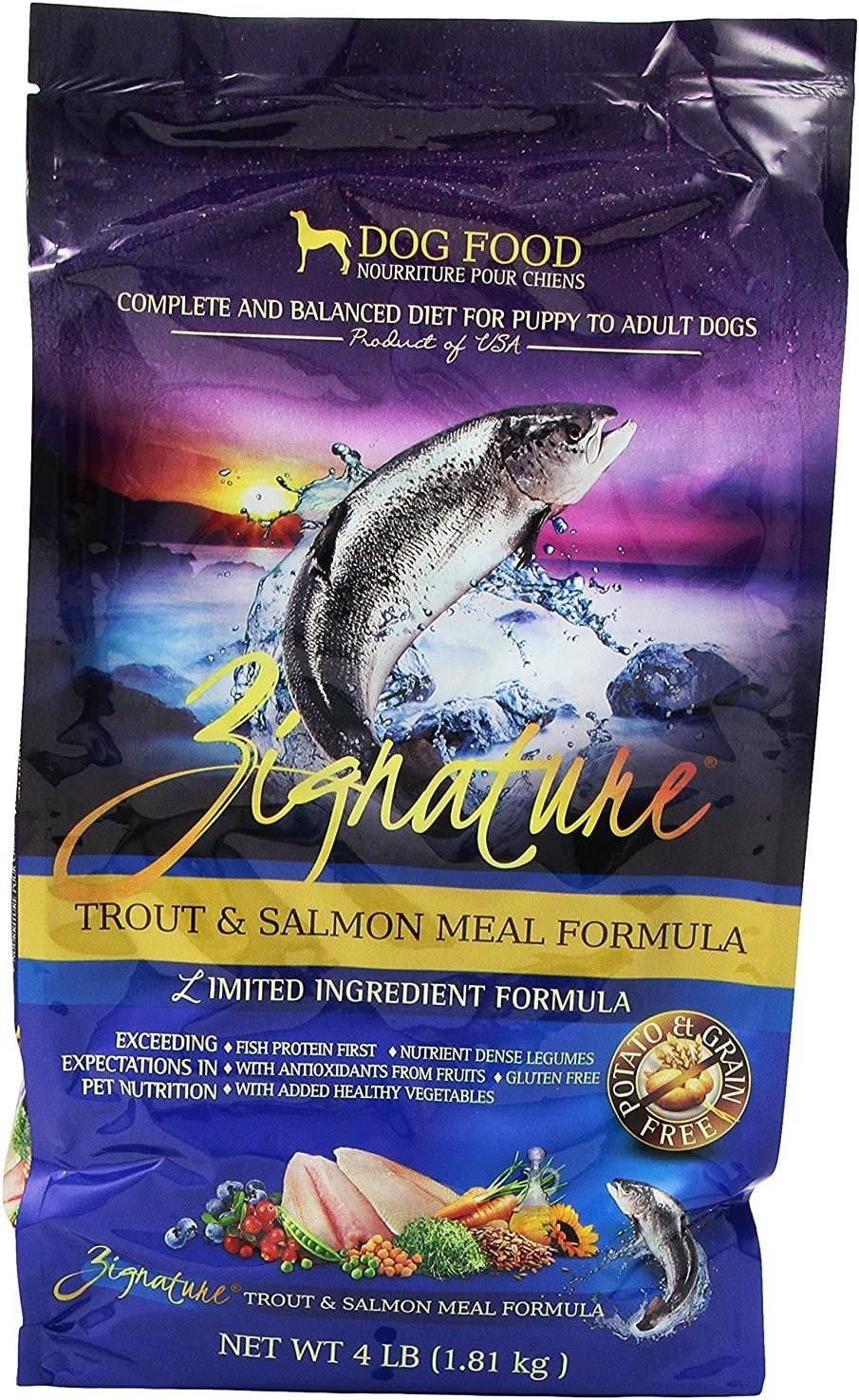 Zignature Trout and Salmon Dry Dog Food, 4 lb. Bag. Fast Delivery, by Just Jak's Pet Market