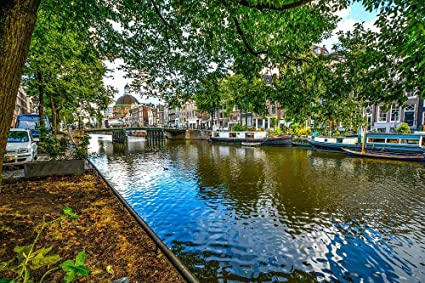 Gifts Delight Laminated 36x24 inches Poster: Amsterdam Bridge Canal Shade Tree Water Reflection Netherlands Shore