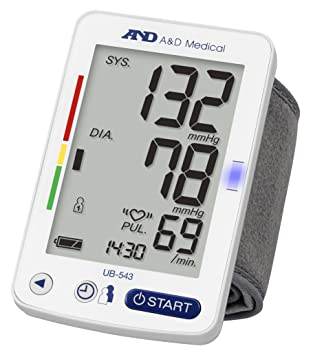 A&D Medical UB-543 Tensiómetro digital de muñeca, validado clínicamente, color Blanco