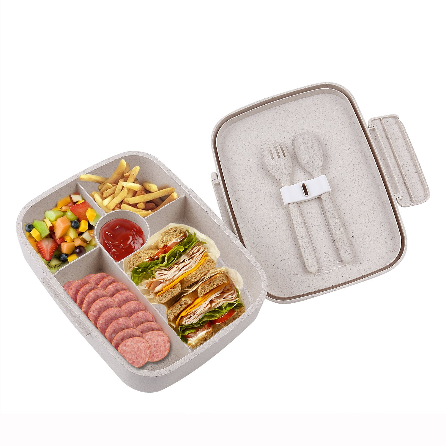 BRIGENIUS Bento Lunch Box For Kids Adults With 5 Compartment, Leakproof, Microwave Dishwasher Safe, Healthy BPA Free (Fork & Spoon INCLUDED)