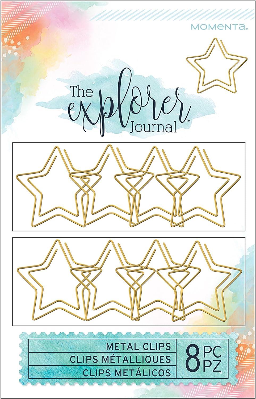 Gold Momenta Explorer Journal Shaped Clips Stars