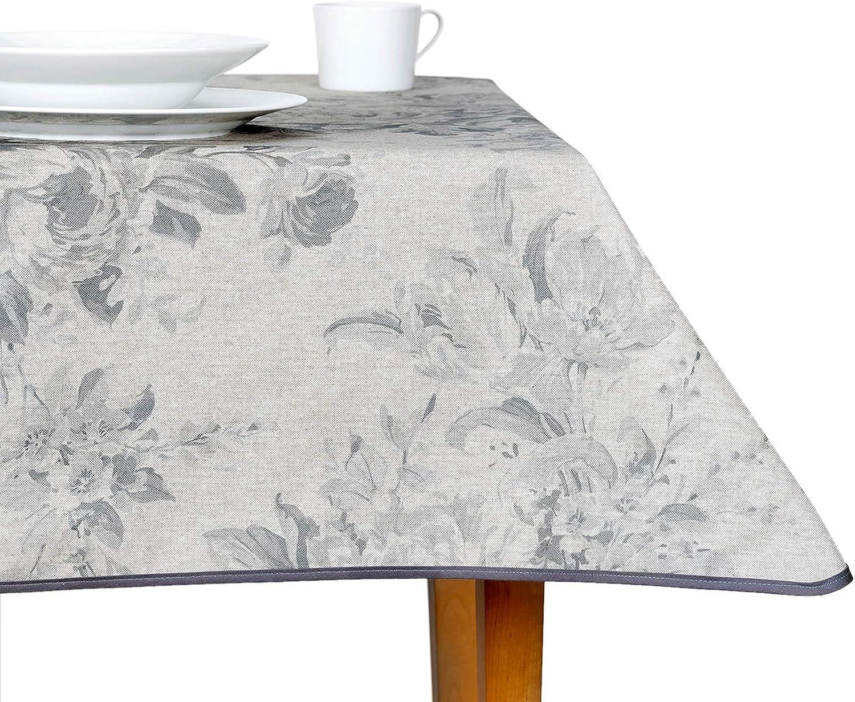 ANRO - Mantel lavable de tela prémium, fácil cuidado, tela prémium, lavable, 75 % algodón, 25 % poliéster., Flores beige gris., Tischdecke 110x140cm: Amazon.es: Hogar