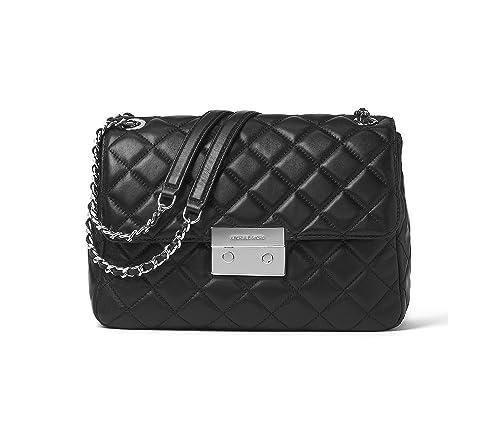 8c64cd50962aa6 Michael Kors Sloan Acolchado Grande Piel Negro Bolso De Cadena Black  Leather: Amazon.es: Zapatos y complementos
