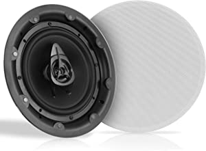 """Ceiling and Wall Mount Speaker - 8"""" Dual 2-Way Audio Stereo Sound Subwoofer Sound with Tweeter, 600 Watts, In-Wall & In-Ceiling Flush Mount for Home Surround System - 1 Pair - Pyle PWRC83 (White)"""