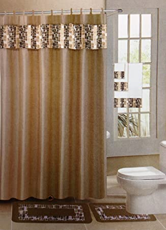 18 Piece Jacquard Bathroom Set: 2 Rugs/mats, 1 Fabric Shower