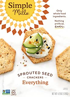 product image for Simple Mills Everything Gluten Free Sprouted Seed Crackers with Chia Seeds, Hemp Seeds, Sunflower Seeds, Flax Seeds, and Sunflower Oil, Made with whole foods, (Packaging May Vary)