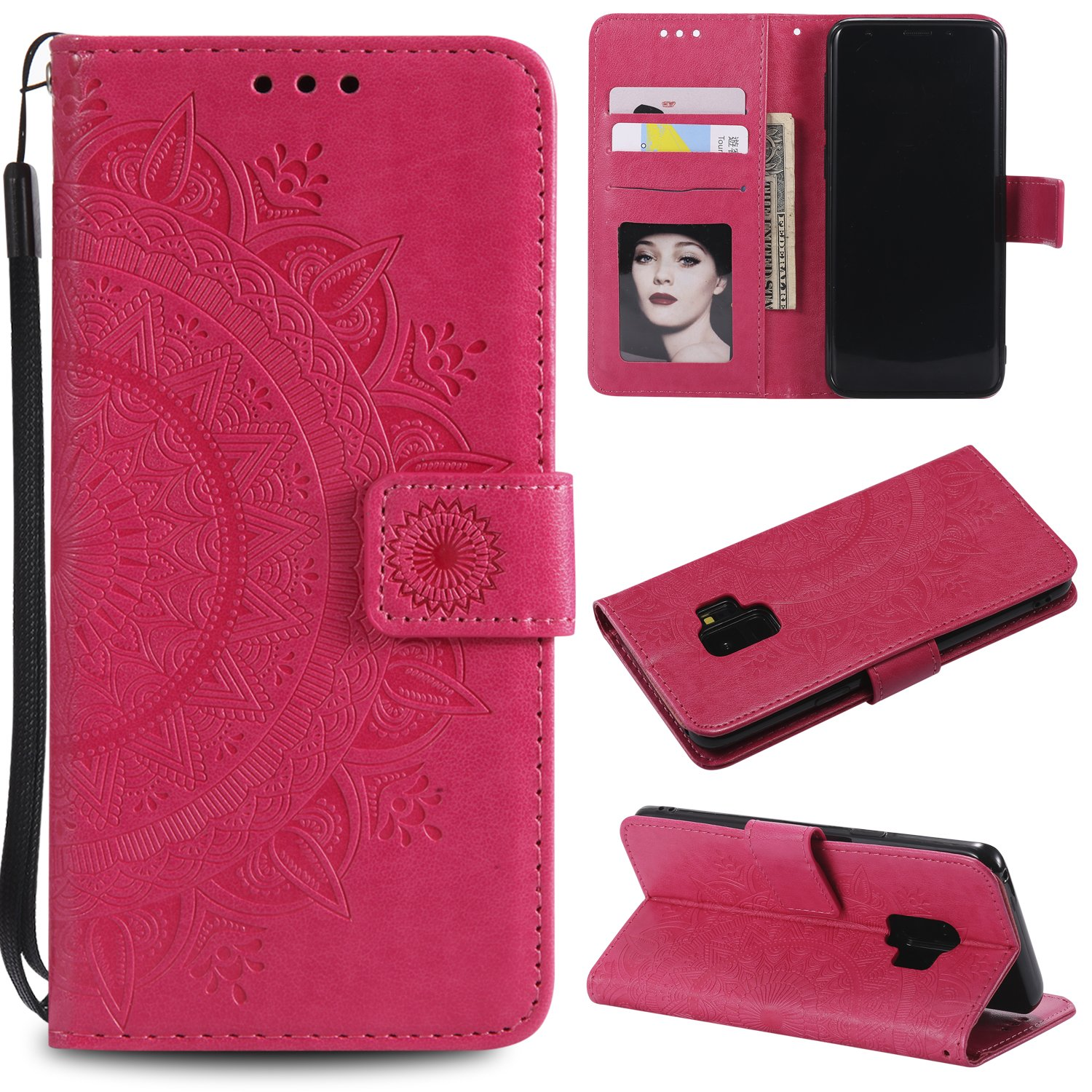 Galaxy S9 Floral Wallet Case,Galaxy S9 Strap Flip Case,Leecase Embossed Totem Flower Design Pu Leather Bookstyle Stand Flip Case for Samsung Galaxy S9-Red